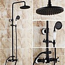 8 inch Antique Oil-rubbed Bronze Finish Two Handles Brass Shower Faucet
