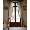 (Deux panneaux) Draps / coton bande de rideau écologique classique (beige)