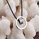 Fashion One Ring in einem anderen Ring (Ring) Schwarzes Leder Anhänger Halskette (Weiß, Schwarz, Blau) (1 PC)