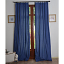 (Two Panels) Solid Linen/Cotton Classic Eco-friendly Curtain (Dark Blue)