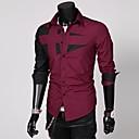 branco preto / vinho de manga comprida camisa dos homens / mistura moda