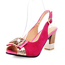 Suede Women's Chunky Heel Sling Back Sandals With Rhinestone Shoes(More Colors)
