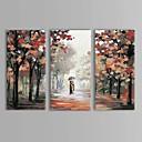 iarts®oil pintura parejas paisaje a pie bajo la lluvia con el conjunto del marco estirada de 3 lienzos pintados a mano