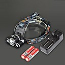 BORUIT RJ-3000 4 Modes 3xCree XM-L T6 4000Lumens Rechargeable Headlamp(Black,2x18650) w/ 18650 Battery(2pcs)&Charger