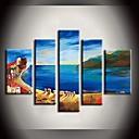 Hand geschilderd olieverfschilderij Blue Ocean Beach Landschap Schilderijen met gestrekte frame Set van 5