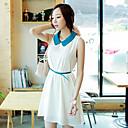 Women's Cute Solid A Line Dress , Peter Pan Collar Mini Chiffon