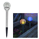 Solar Color Changing Crackle Glass Ball Stake Light (Cis-41285A)
