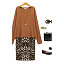 Women's Plus Size Leopard Print Two Piece Dress