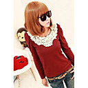 Women's Lace Black/Red T-shirt , Casual Round Neck Long Sleeve Lace