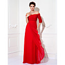Formal Evening/Prom/Military Ball Dress - Ruby Plus Sizes Sheath/Column Off-the-shoulder Floor-length Chiffon