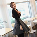 Women's Gray Dress , Casual/Plus Sizes Long Sleeve