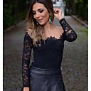 Women's Sheer Mesh Splicing Boat Neck Lace T-shirt Blouse