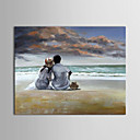 oljemaleri folk elskere på Beach 'med utstrakte ramme håndmalt lerret