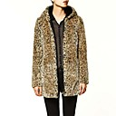 Long Sleeve Hooded Faux Fur Leopard Coat
