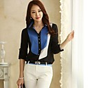 Women's Turndown Contrast Color Patchwork OL Chiffon Shirts