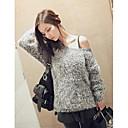 cuello redondo suéter flojo ocasional de las mujeres