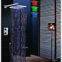 12 tommer termostatisk nedbør bruser vandhane, ledet temperaturfølsomme 3 farver brusehoved og messing håndbruser