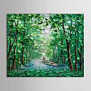 iarts®oil pintura de paisaje a pie por un sendero arbolado con lienzo pintado a mano marco de estirado