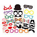 31 PCS Card Paper Photo Booth Props Party Fun Favor(Glasses & Hat & Mustache & Hat)