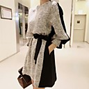 Women's Fashion Elegant  Round Collar  Long Sleeve  Dress
