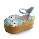 Handmade Blue PU Leather 10cm Wedge Sweet Lolita Sandals with Daisy