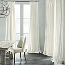 Room Darkening Natural Linen White Curtain(Two Panels)