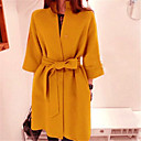 Women's Elegant Solid Color Bow  Wool Coat
