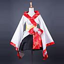mode kimono stil lang ærmet knælang hvid satin wa lolita tøj
