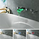 Charmingwater Contemporary Chrome Brass LED Color Changing Waterfall Tub Faucet with Put-out  Hand Shower (Wall Mount)