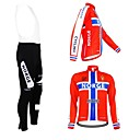 KOOPLUS Unisex Spring Autumn Customized Cycling Clothing Norway Long Sleeve Jersey And BIB Pants Polyester Cycling Suit