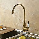 European Style Brass 1 Hole 1 Hand Satin Kitchen Faucet (1251 Blue And White Porcelain)