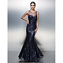 Prom/Formal Evening Dress - Dark Navy A-line Jewel Floor-length Sequined