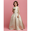 A-line Jewel Floor-length Satin Flower Girl Dress (2174404)