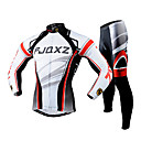 FJQXZ Men's Winter Autumn Polyester Mesh Jersey Lycra Cushion Tights White+Red Long Sleeves Breathable Cycling Suit