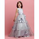 A-line Floor-length Flower Girl Dress - Organza/Satin Sleeveless