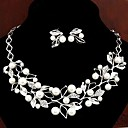 European Style Fashion Metal Rhinestone Pearl Foliage Necklace Earrings Set-Set of 2
