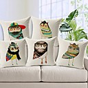 Set of 5 Colorful Mr.Owl Cotton/Linen Decorative Pillow Cover