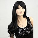 Long Natural Black Wavy Synthetic Wigs with Side Bang