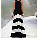 vestido color block maxi cuello redondo de las mujeres