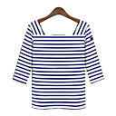 Women's Striped Multi-color T-shirt , Square Neck ½ Length Sleeve