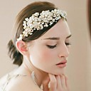 Golden Floral Pearl And Rhinestone Bridal Princess Tiara Crown Double Bands Golden Wedding Tiara