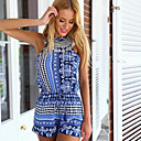 Women's Sexy Backless Print Sleeveless Jumpsuits (Cotton/Polyester)