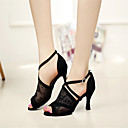 Customizable Women's Dance Shoes Latin Lace Stiletto Heel Black