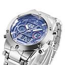 3 Colour Dual Dial Calendar Alarm 3ATM Waterproof LCD Chronograph Mens Sport Wrist Quartz Watch Stainless Steel Band
