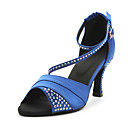 Customizable Women's Dance Shoes Latin Satin Customized Heel Blue/Purple