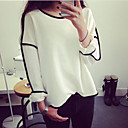 Women's Casual/Work Round Long Sleeve Tops & Blouses (Polyester)