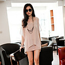Women's Casual/Work Round ½ Length Sleeve Dresses (Chiffon)