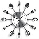 Modern Design Sliver Cutlery Kitchen Utensil Wall Clock Spoon Fork Clock
