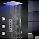Douchekraan - Modern - LED / Regendouche / Zijspray / Inclusief handdouche - Messing (Chroom)