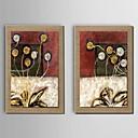 pittura ad olio decorazione floreale dipinta a mano di lino naturale con Stretched incorniciato - set di 2